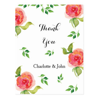 coral pink watercolor floral Thank You notes Postcard