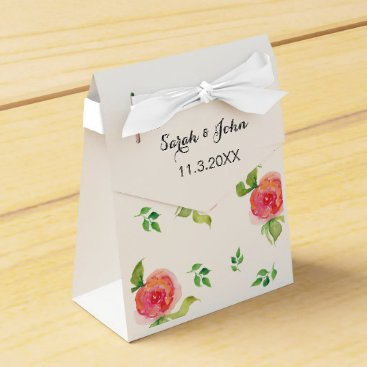 coral pink watercolor floral wedding favor box