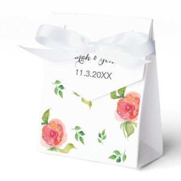 coral pink watercolor floral wedding favor box
