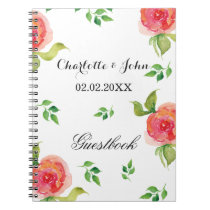 coral pink watercolor floral wedding Guestbook Notebook