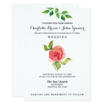 coral pink watercolor floral wedding invitations