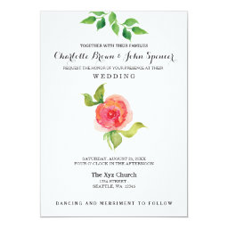 Pink Coral Floral Wedding Invitations