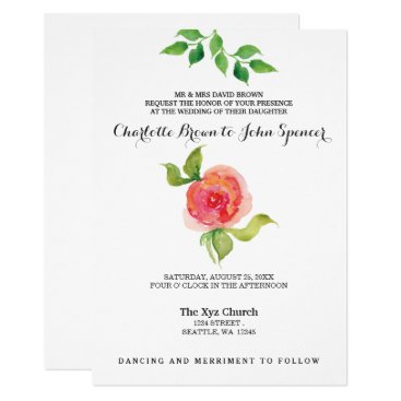 coral pink watercolor floral wedding invitations
