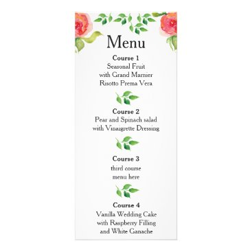 coral pink watercolor floral wedding menu