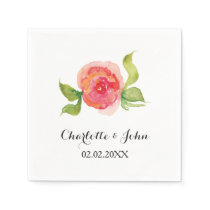 coral pink watercolor floral wedding napkin