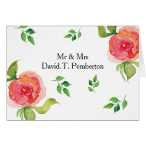 coral pink watercolor floral Wedding Place Cards