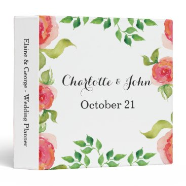 coral pink watercolor floral wedding Planner Binder