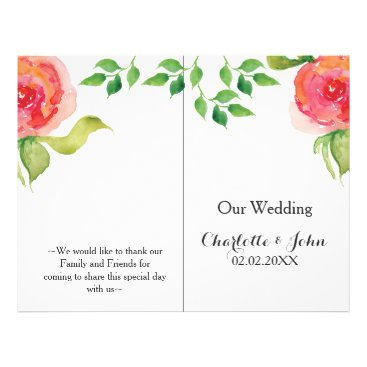 coral pink watercolor floral wedding program