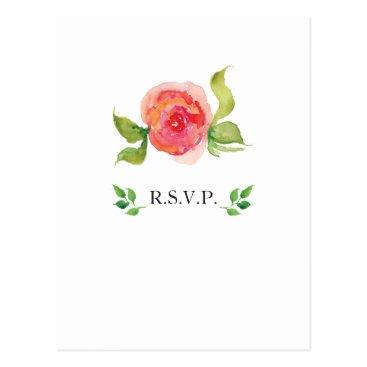 coral pink watercolor floral wedding rsvp postcard