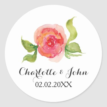 coral pink watercolor floral wedding stickers