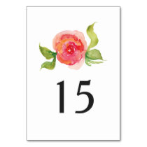 coral pink watercolor floral wedding table number