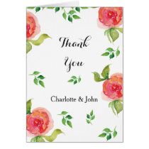 coral pink watercolor floral wedding Thank You Card