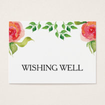 coral pink watercolor floral wishing well business card