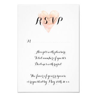 Coral pink watercolor heart RSVP wedding cards