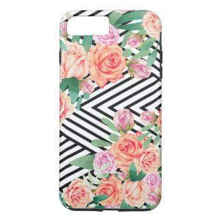Coral pink watercolor roses black white stripes iPhone 8 plus/7 plus case