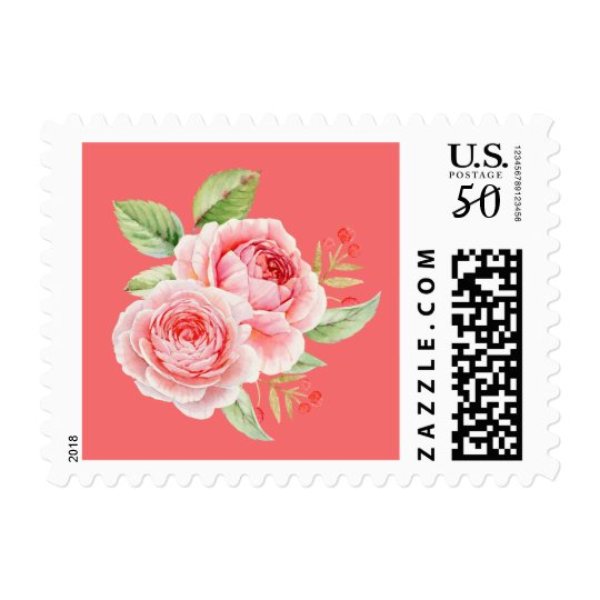 C Pink Watercolor Roses Wedding Postage Stamps