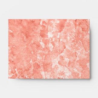 Coral pink watercolor splash with flowers envelope