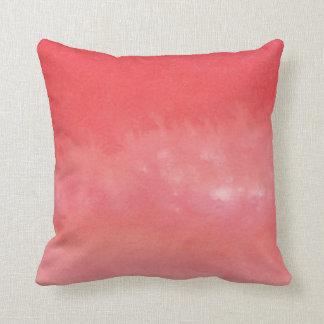 Coral Pink Watercolor Wash Printed Pillow