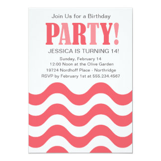 Coral Pink Wave Party Invitation