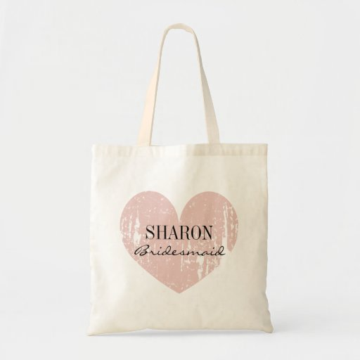 Coral pink weathered heart bridesmaid tote bags canvas bags