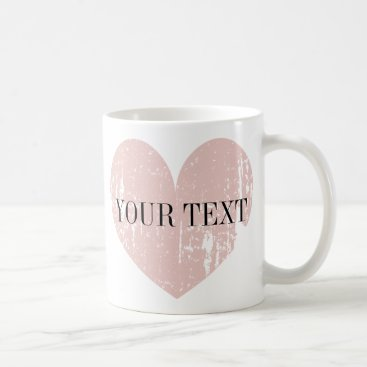 Coffee Themed Coral pink weathered heart personalized coffee mug