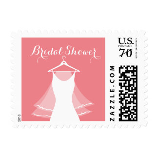 Coral pink wedding dress gown bridal shower stamps