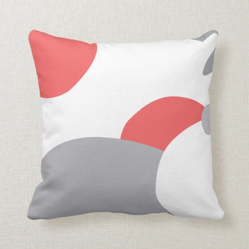 Coral Pink White and Grey Abstract Art Cushion