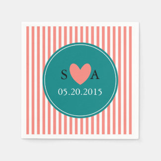 Coral Pink, White and Teal Wedding Napkin