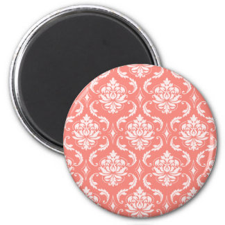 Coral Pink White Classic Damask Pattern 2 Inch Round Magnet