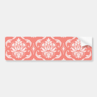 Coral Pink White Classic Damask Pattern Bumper Sticker
