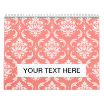 Coral Pink White Classic Damask Pattern Calendar