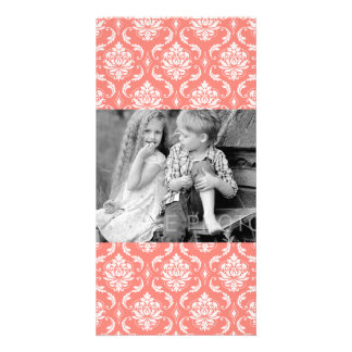 Coral Pink White Classic Damask Pattern Card