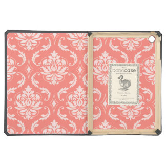 Coral Pink White Classic Damask Pattern iPad Air Covers