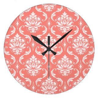 Coral Pink White Classic Damask Pattern Wall Clock