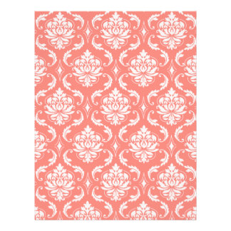 Coral Pink White Classic Damask Pattern Flyer