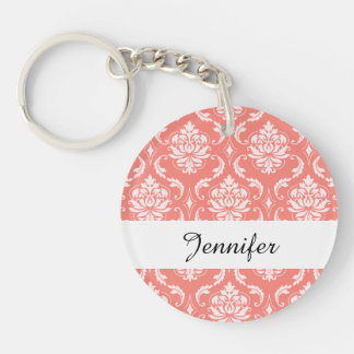 Coral Pink White Classic Damask Pattern Double-Sided Round Acrylic Keychain
