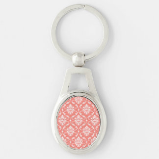 Coral Pink White Classic Damask Pattern Keychain