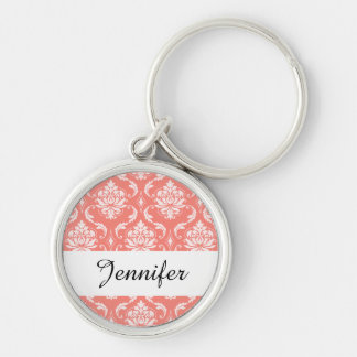 Coral Pink White Classic Damask Pattern Silver-Colored Round Keychain