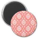 Coral Pink White Classic Damask Pattern Refrigerator Magnets