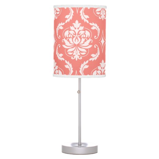 coral pink white classic damask pattern table lamp zazzle. Black Bedroom Furniture Sets. Home Design Ideas