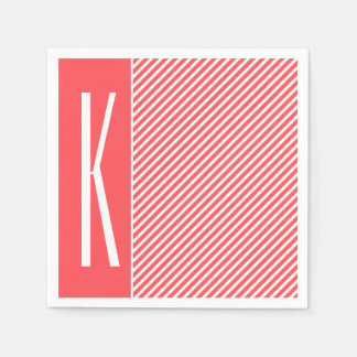 Coral Pink & White Diagonal Stripes Paper Napkin