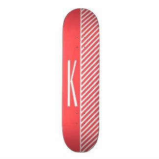 Coral Pink & White Diagonal Stripes Skateboard Deck