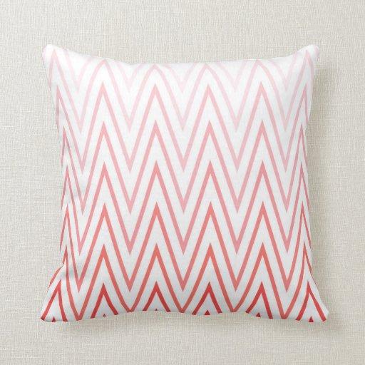 Coral Pink White Gradient Ombre Chevron Pattern Pillow