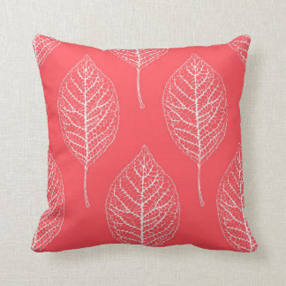 Coral Pink & White Leaf Pattern Pillow