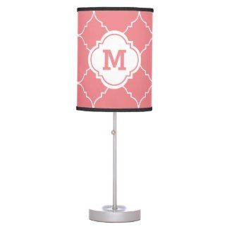 Coral Pink White Quatrefoil Pattern Monogrammed Table Lamp