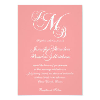 Coral Pink White Three Letter Wedding Invitations
