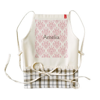 coral pink,white,vintage damasks,shabby chic,victo zazzle HEART apron