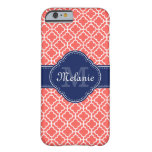 Coral Pink Wht Moroccan Pattern Navy Monogram Barely There iPhone 6 Case