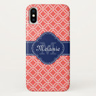Coral Pink Wht Moroccan Pattern Navy Monogram iPhone X Case