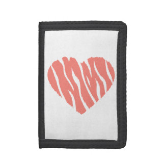 Coral Pink Wild Heart Trifold Wallet